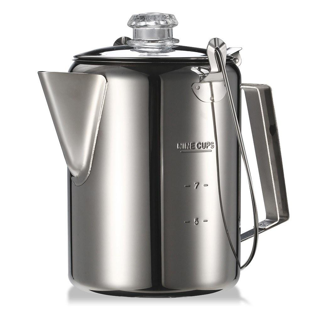 Y7361 Outdoor 9 Cup Stainless Steel Percolator Coffee Pot Coffee