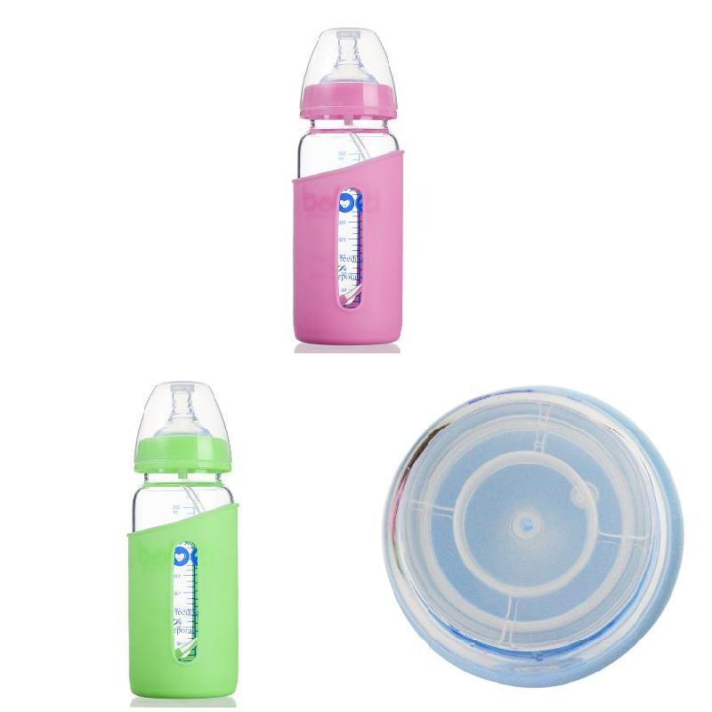300ML Newborn Feeding Bottle With Silicone Cover Anti-hot Infant Food Feeder Glass Bottles For 6-18 Month Baby FJ88
