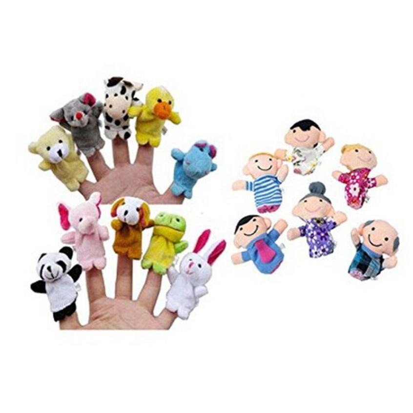 Finger Puppets include10 Animals and 6 person Family Members educational toys for children #XT
