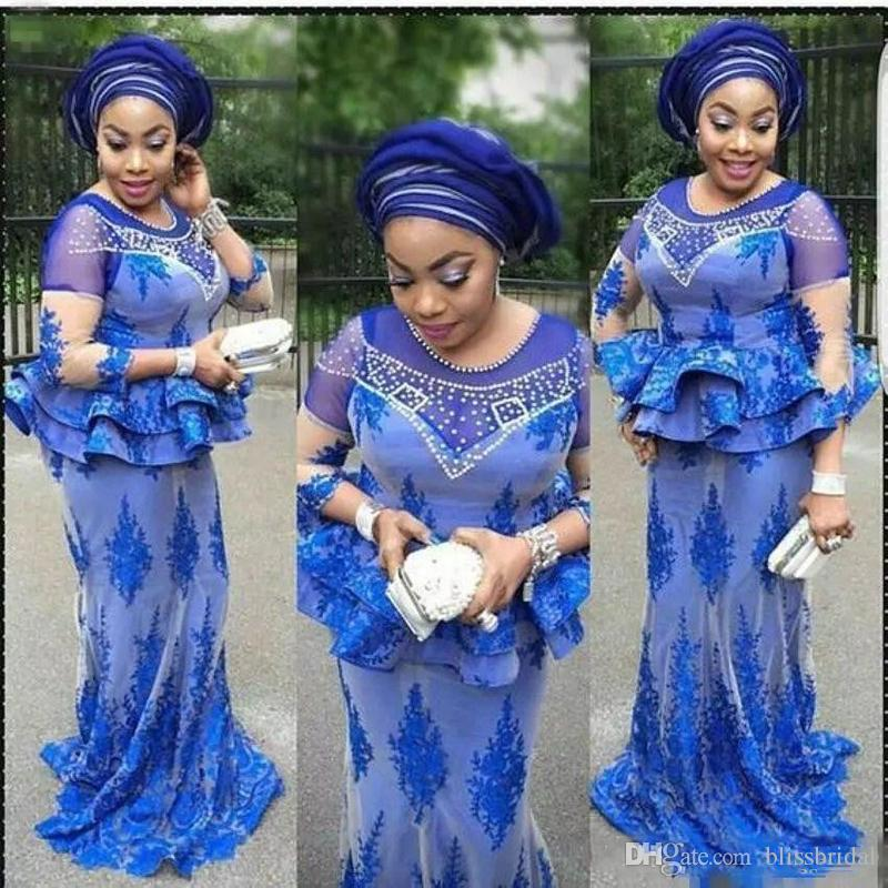 2018 Plus Size African Royal Blue Mermaid Evening Dresses Pearls Beaded Nigerian Lace Appliques Aso Ebi Prom Gowns Mother Of The Bridal