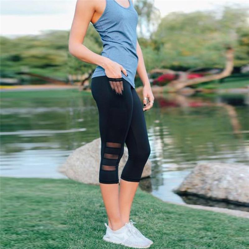 75af004c4ed709 2019 2018 Black Sexy Fitness Sporting Capri Pants Women'S High Waist Elastic  Mesh Legging Pants With Pocket Cropped Trousers Leggings From Fafachai08,  ...