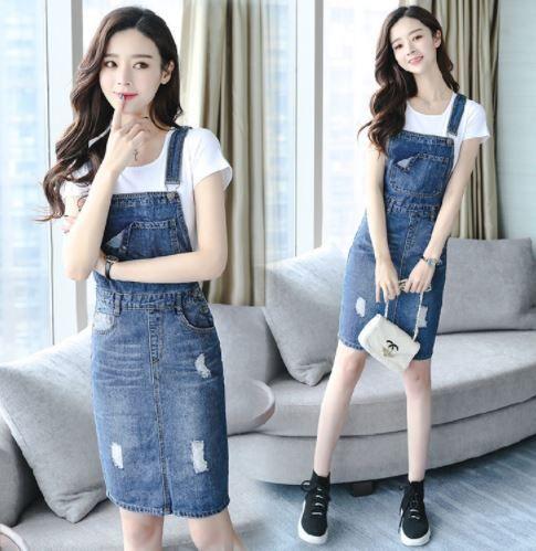 Plus Size Denim Dress Women 2018 Summer Strap Jeans Dress Preppy Suspender  Ripped Denim Sundress Ladies Blue Overall Dress