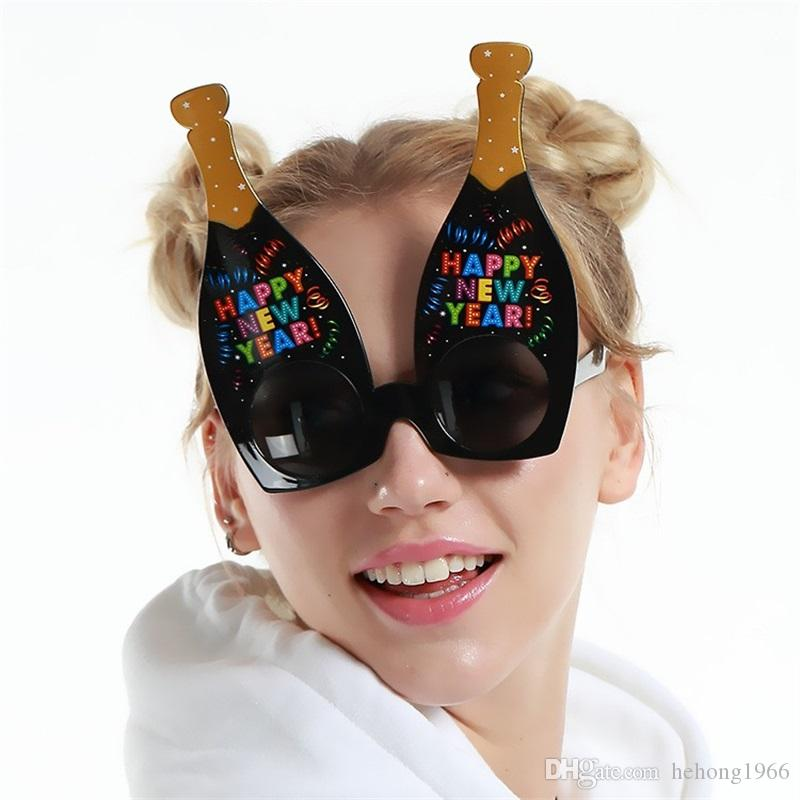 Wine Bottle Spectacles Party Glasses Black Sunglasses Halloween Photograph Prop Happy New Year Funny Gift Event Supplies Special 8 5sfb V