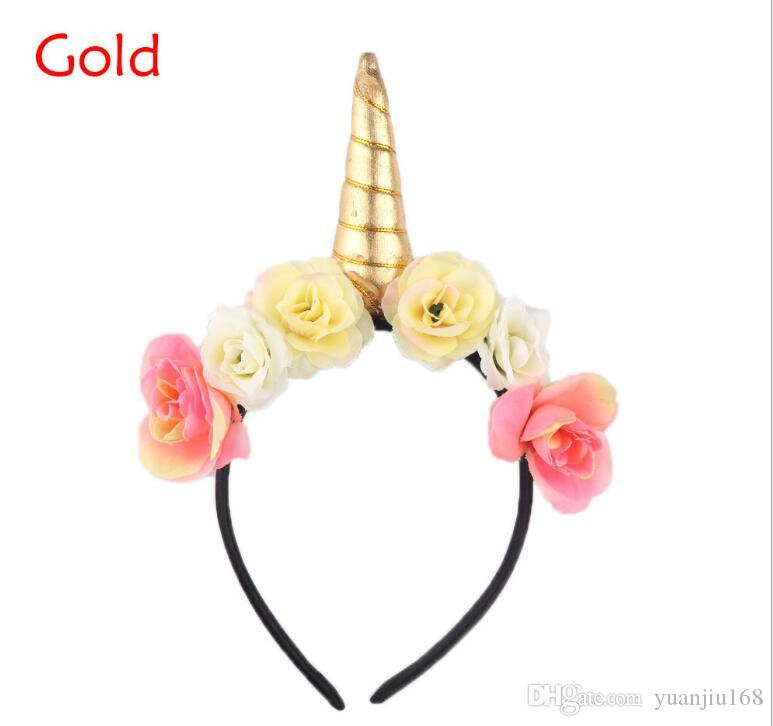 Rainbow Unicorn Horn Hairband Kids Chiffon Unicorn Headband Glitter Hairband Easter Bonus for Party Gift Hair Accessories GA167