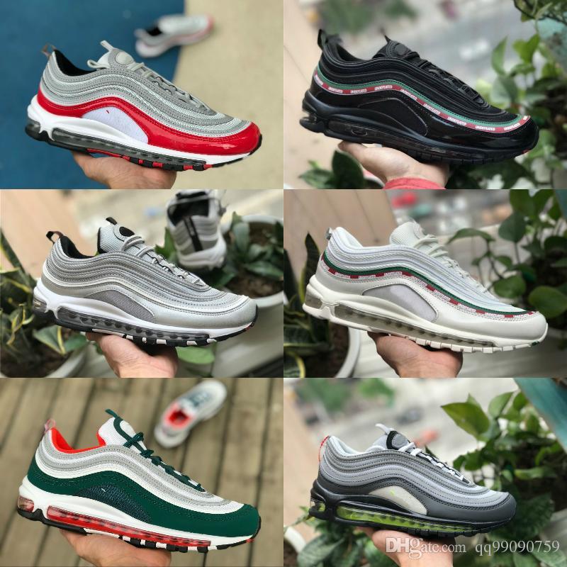 270f8282fe35 Acheter 97 Chaussures 2018 Nouveau Pas Cher 97s OG X Bullet Chaussures De  Sport Noir Blanc Or Argent Hommes 97 Ultra Sean Wotherspoon Femmes  Formateur Off ...