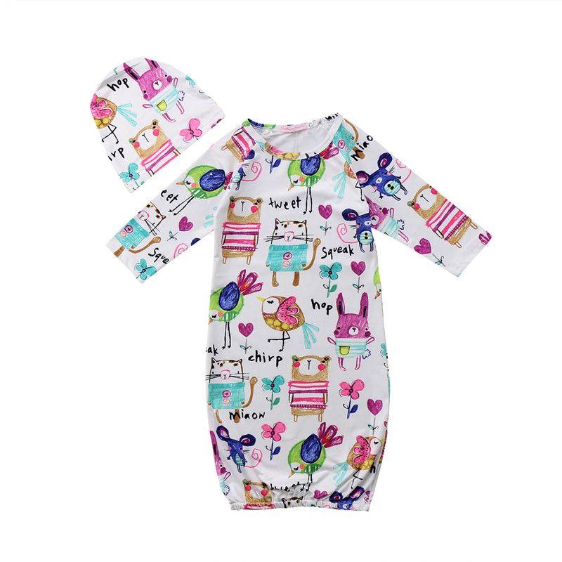d51f14f1f Newborn Infant Baby Boy Girl Graffiti Sleepwear Nightgown Hat Set ...