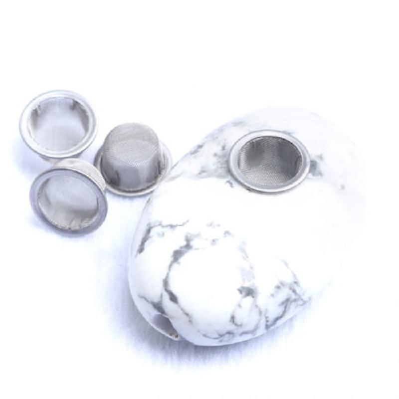 Toptan yenilik Doğal beyaz turkuaz Palm Oval Taş Cilalı Kaya sigara boru 4 Metal Filtre hediye Ücretsiz Nakliye Ile