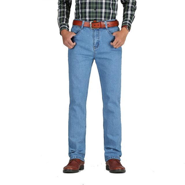 9b3dc48284ac0 Compre Pantalones Vaqueros De Cintura Alta Para Hombre Algodón Grueso  Grueso Pantalones Vaqueros Elásticos Pantalones De Mezclilla Negro Azul  Masculino ...