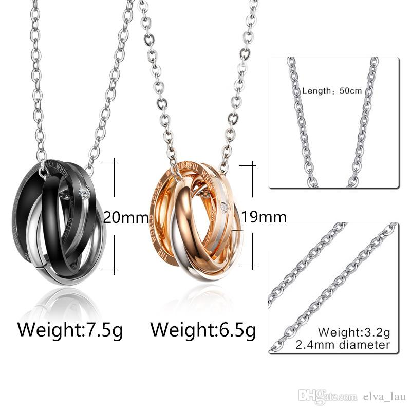 Fashion Interlocked Circle Couple Pendant Necklace Engraved Words Rose Gold Stainless Steel Love Necklace For Men Women Wedding Jewelry Gift