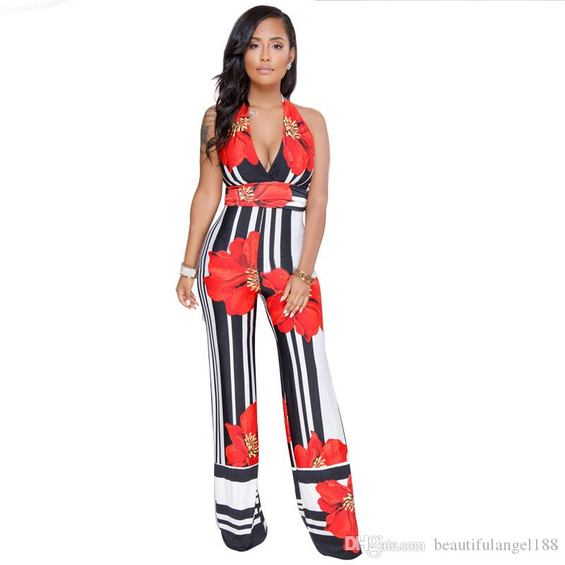 63c8c3abe50 2019 Black White Vertical Striped Sexy Long Jumpsuit Women Halter  Sleeveless Floral Romper V Neck Backless Wide Leg Overalls From  Beautifulangel188