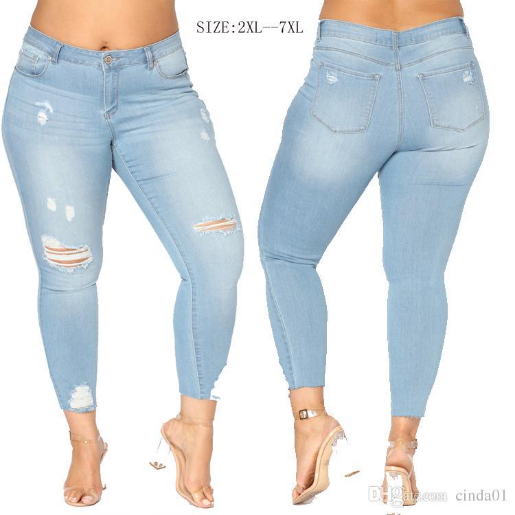 aab07400968 Acheter Fat Women Denim Jeans Délavé Pantalon Hot Sexy Slim Jeans Pour Femme  Eur US Taille Femmes Pantalons De  33.05 Du Cinda01