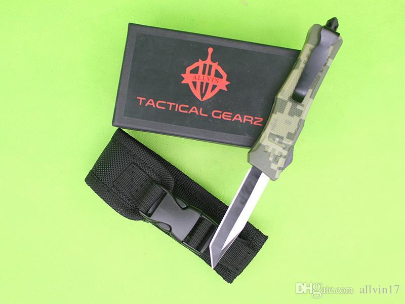 neue grüne Camo Griff 7 Zoll Mini 616 Auto taktisches Messer 440C einzelne Tanto Fine Edge Titanium Klinge EDC Taschenmesser