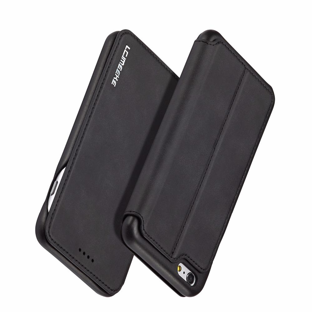 7555c202029 Black Leather Flip Case Cover For IPhone 6 6s Plus Shockproof Wallet Phone  Case With Credit Card Slot Coque For IPhone6 6plus Cool Phone Cases  Customize ...