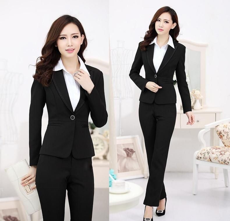 7a4f1aeb26ec1 New Plus Size 4XL Autumn Winter Professional Business Work Wear Pant Suits  Beautician Uniforms Office Blazers Jackets And Pants