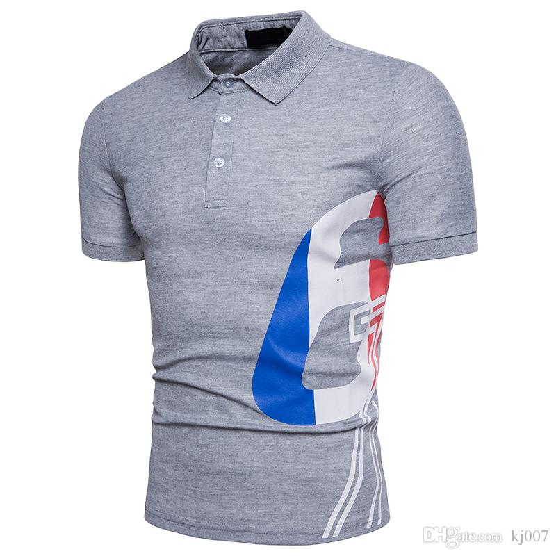 Summer New Brands Men Polo Shirt Letter 6 Printed Fashion Polo Shirts Men Short Sleeved Polos European and American Style t shirts
