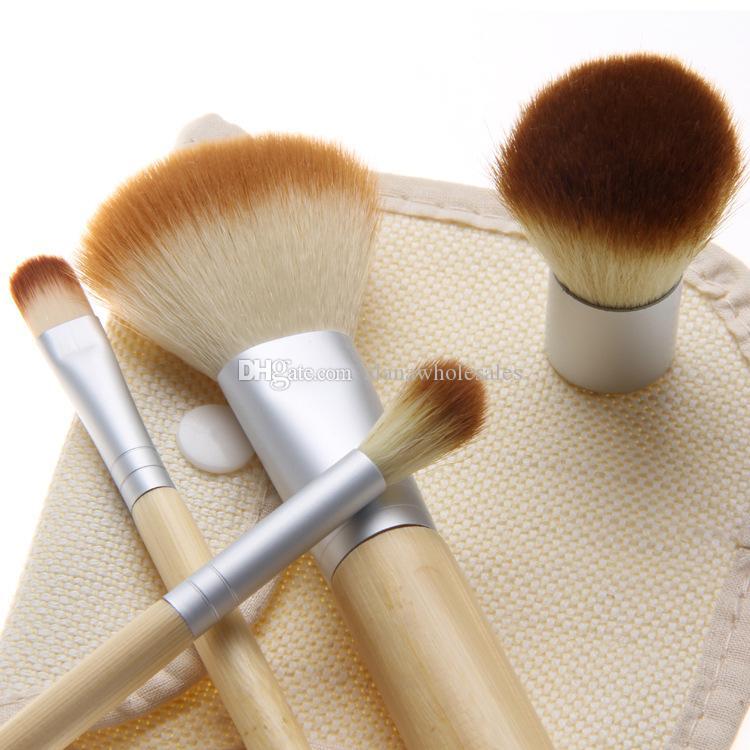 Set Kit wooden Makeup Brushes Beautiful Professional Bamboo Elaborate make Up brush Tools With Case zipper bag butt11*3.5cm CS00401