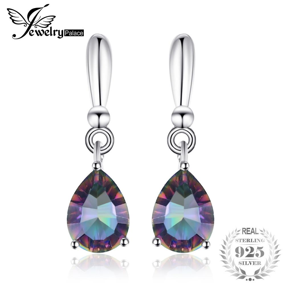 25d4141b297 2019 High Quality 2ct Water Drop Genuine Rainbow Fire Mystic Topaz Drop  Earrings 925 Sterling Silver For Women New Gem Stone Jewelry Y18110503 From  ...