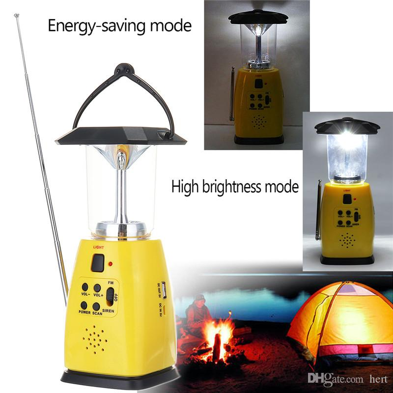 Newest Solar Powered Hand Crank Dynamo Emergency 8 LED Bulbs 2 Modes Outdoor Camping Lantern FM Radio Flashlight AAA Torch