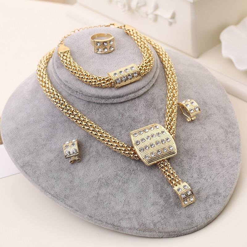 Luxury Wedding Jewelry Sets Crystal Geometric Choker Necklace Charm