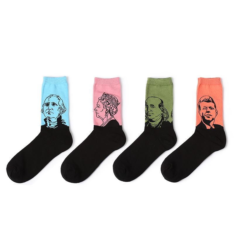 Men's Socks Fashion Mens Socks Cotton Harajuku Colorful Hipster Designer Alien Male Crew Socks Flower Animal Patterned Novelty Art Socks In Many Styles