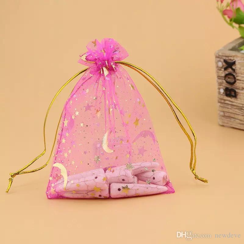 Vendita calda 100 pz / lotto sacchetti colorati organza luna e stella sacchetti con coulisse sacchetti regalo popolare sacchetti economici 7 * 9 cm sacchetto dei monili