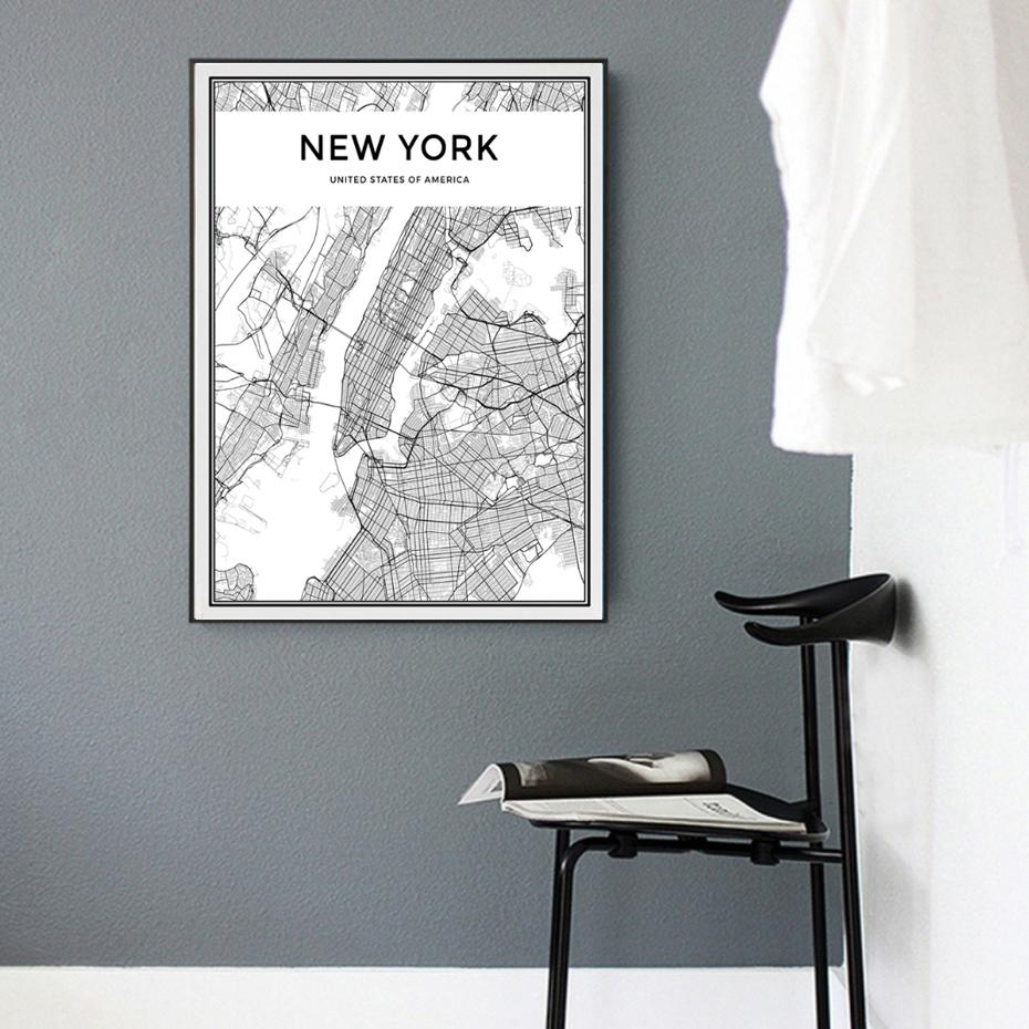 2018 Minimalist New York City Map Canvas Painting Black And White ...