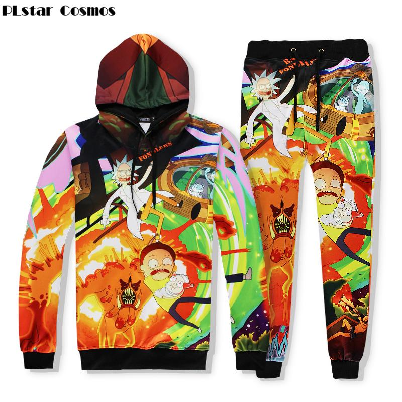 39f64707ed6744 2019 PLstar Cosmos 2018 New Fashion Brand Clothing Cartoon Rick And Morty 3d  Print Men Women Hip Hop Hoodies+Joggers Pants Sets C18111601 From  Lizhang03