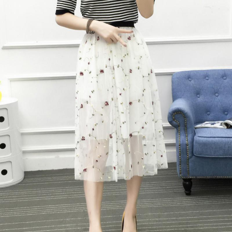 51cadb608f Sweet Style Chic Floral Embroidery Elegant Mesh Summer Sweet Girls White  Black Soft High Waist Fashion Skirts Online with $44.84/Piece on Modeng02's  Store ...