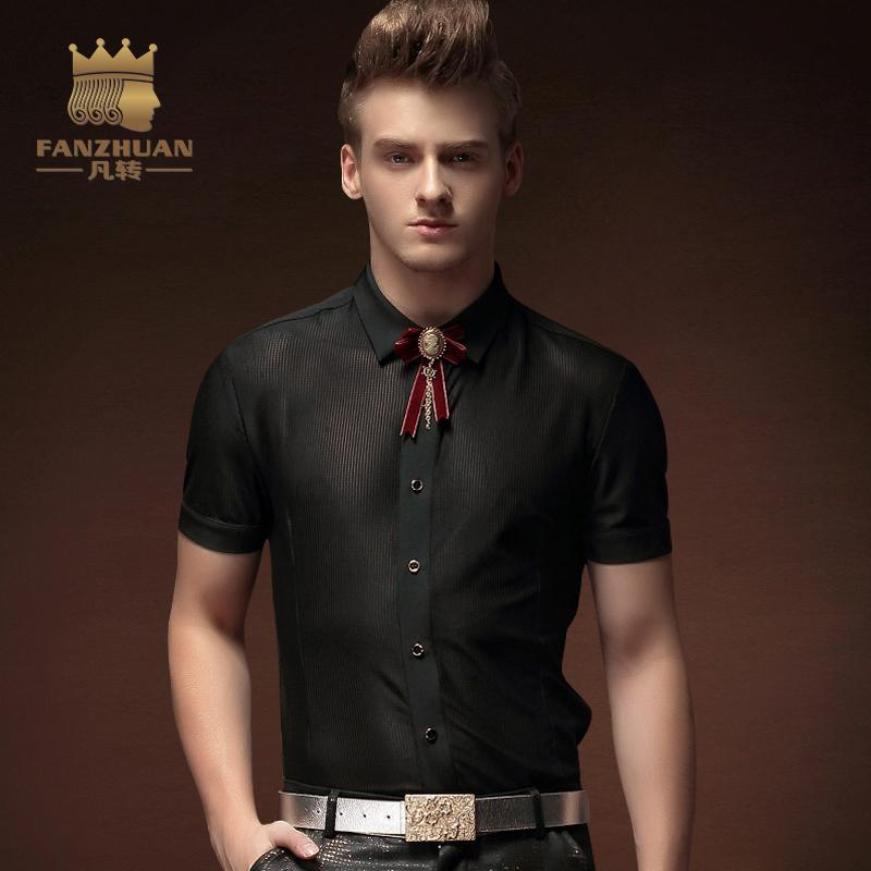 4601d09d3d5c FANZHUAN Brand Fashion Cool Designer Mens See Through Shirts Black Slim Fit  Ultra ThinShirt Men Short Sleeve Clothing Stage Wind Slim Fit Brand Slim  Fit ...