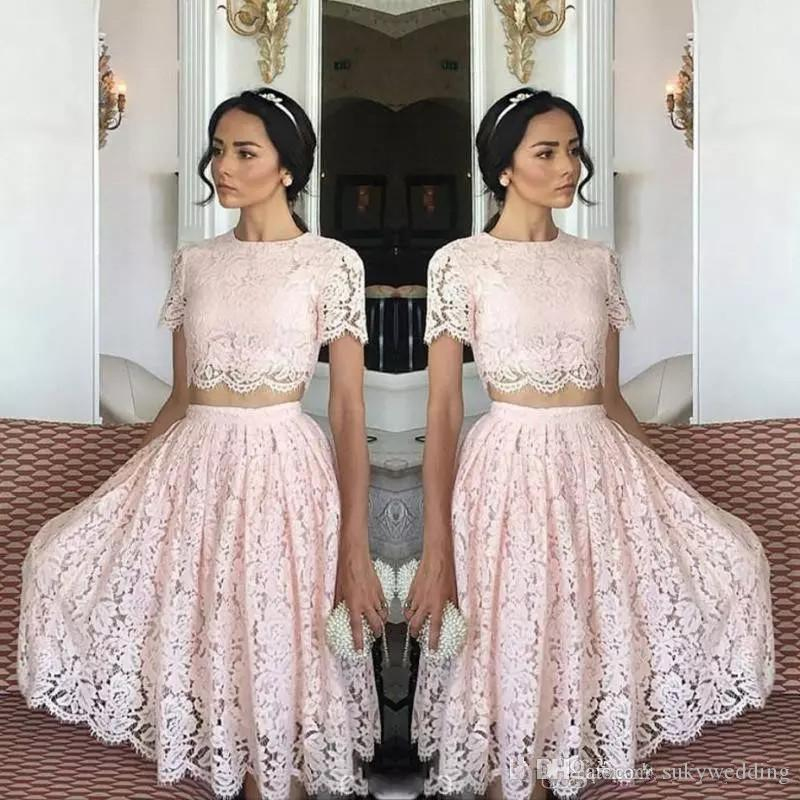 f0ddd04156ea Lace Two Pieces Homecoming Dresses Light Pink Short Sleeves A Line Prom  Dresses Knee Length Party Dresses Formal Cocktail Wear Cheap Purple  Homecoming ...