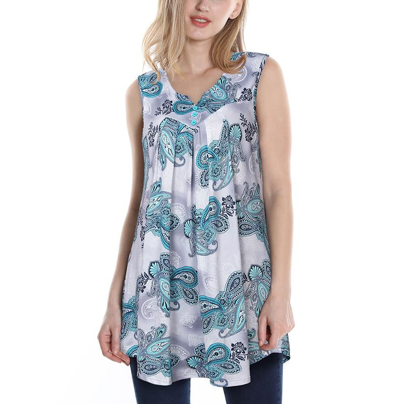 440fcfb2c3d 2019 Timeson Sleeveless Paisley Printed Pleated Front Scoop Neck Tunic Tanks  Tops 2018 Casual Loose Tank Women Buttons Camisole From Houmian, ...