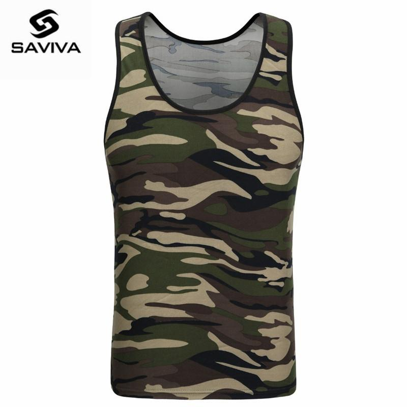 Wholesale- 2017 SAVIVA Men Tank Top Cotton High Quality O-neck Striped Tee Camo Army Green Sleeveless for wholesale Camouflage Tank Tops