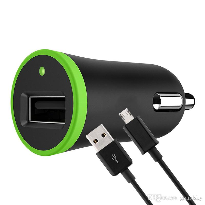 2 in 1 Kit For Single USB Car Charger Adapter Lighter Socket 2.1A with Charging Cord Data Cable 1.2m for Phone iPhone Samsung Galaxy S6 S7