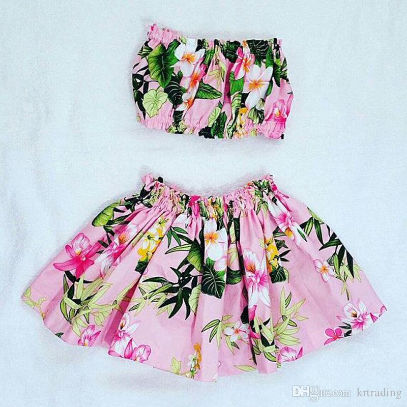 e7f4863a17a80 2019 Girls Floral Beach Clothing Sets Boob Tube Top+Flower Skirt 1 3T Baby  Toddlers Cute Beach Clothes From Krtrading
