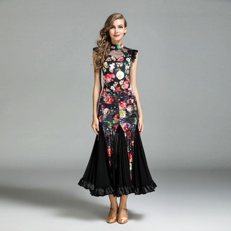 d3ea03af2 2018 Black Ballroom Dance Dress Standard Ballroom Dancewear Fox-trot ...