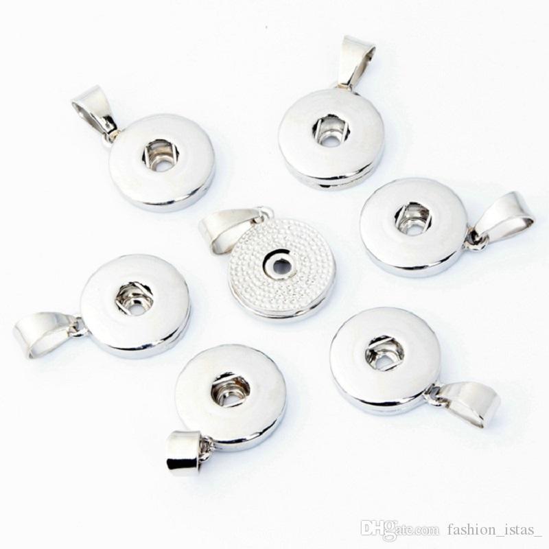 Noosa chunks 18/12 MM oro / plata Ginger Snap Button Base Accesorios de joyería para DIY Snaps Button Collar Pulsera Accesorios de la joyería