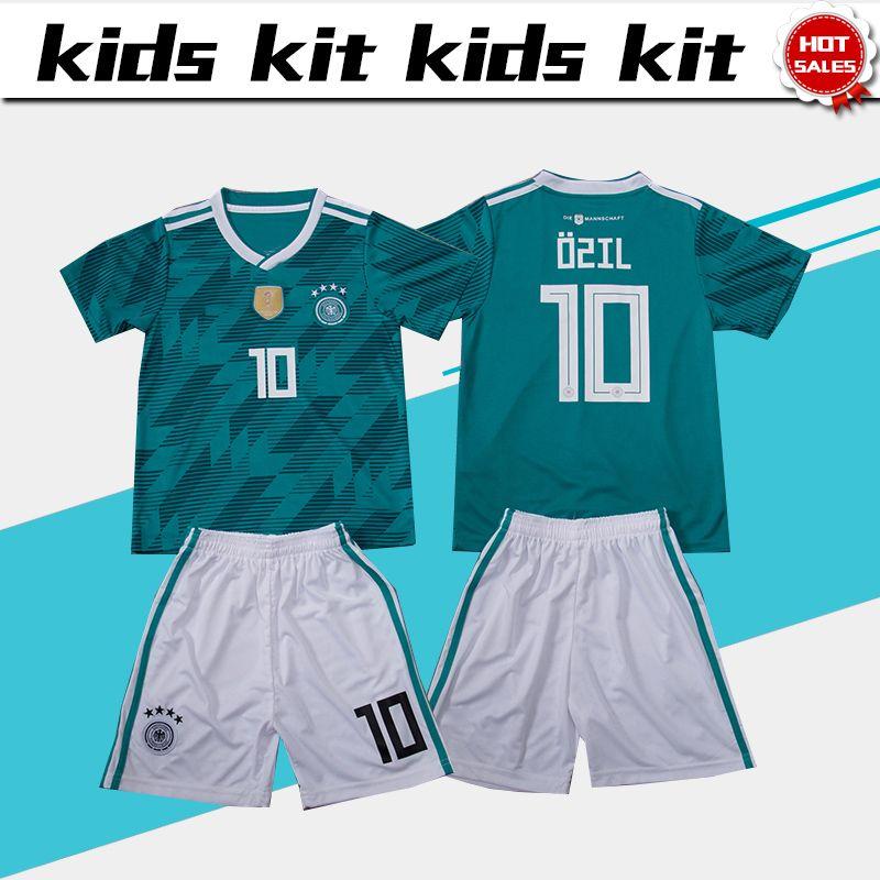 5fc9805f5 2019 2018 World Cup Germany Soccer Jersey Kids Kit  10 OZIL 2018 Germany  Away Soccer Jerseys MULLER Child Soccer Shirts Uniform Jersey+Shorts From  Xctc5320