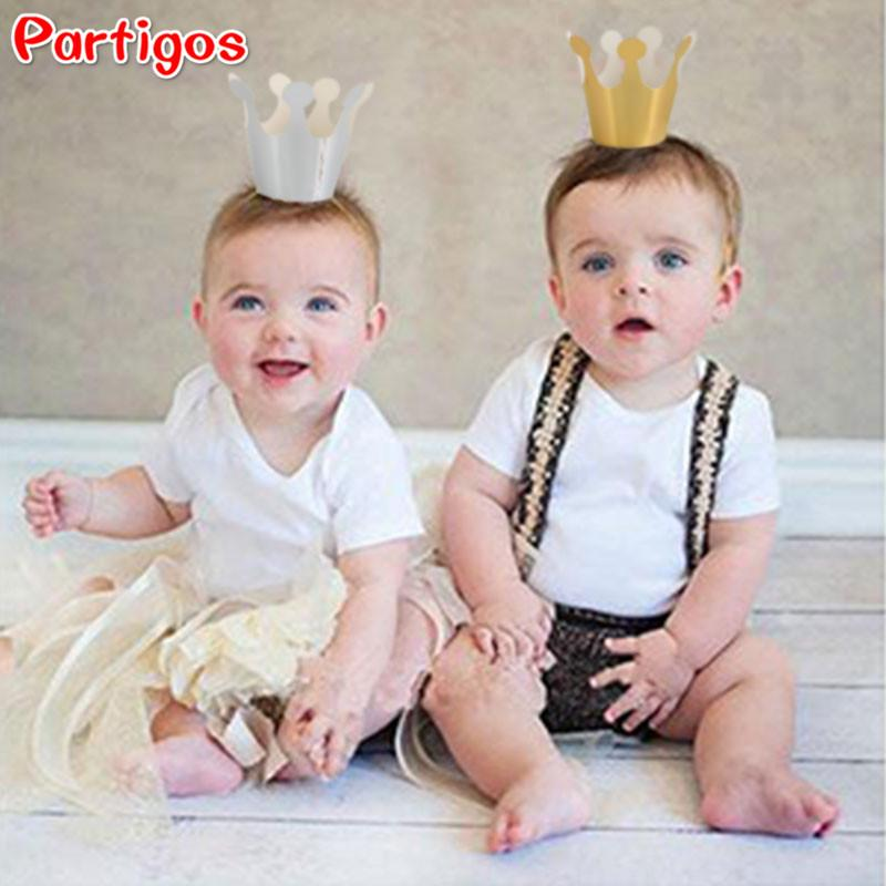 5pcs/lot Happy birthday Silver Gold Crown Party Decor Festive Party Kids gift Accessorie Supplies