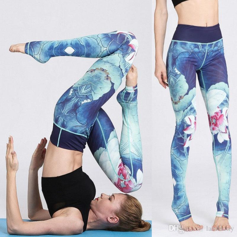 2018 Hot Sale Women Fashion Sexy Comfortable Pants Slim Long Pants Ink Printing Fitness Trousers Legging Yoga Pants Size S-XL