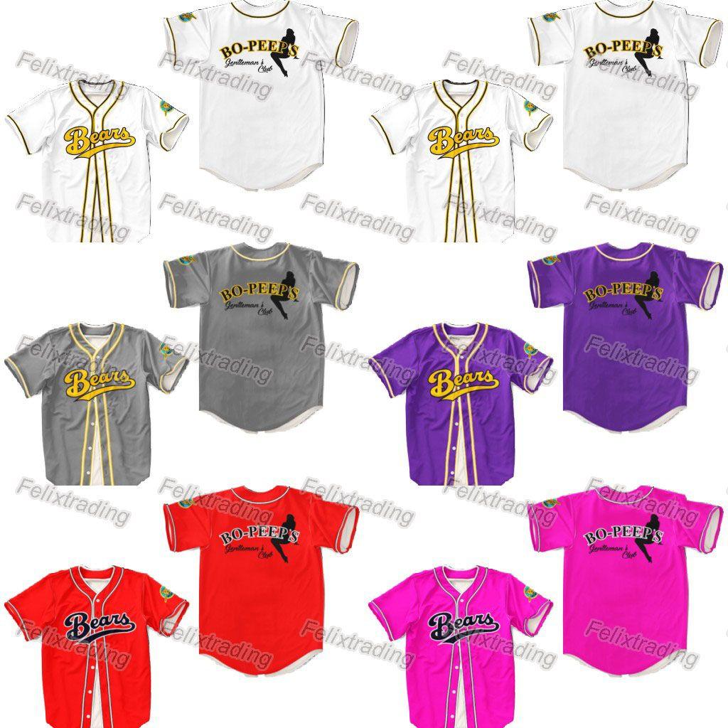 brand new 36fe5 7324d Chico s bail bonds Bears Jersey Stitch Shirt Baseball Patch Sewn bo peeps  colors Movie Baseball Jersey