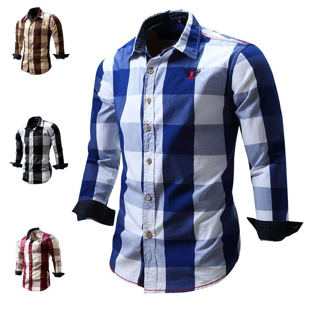 b1726a7aacf Men s Slim Fit Casual Button Cowboy Dress shirt Long Sleeve Plaid Shirts  100% Cotton