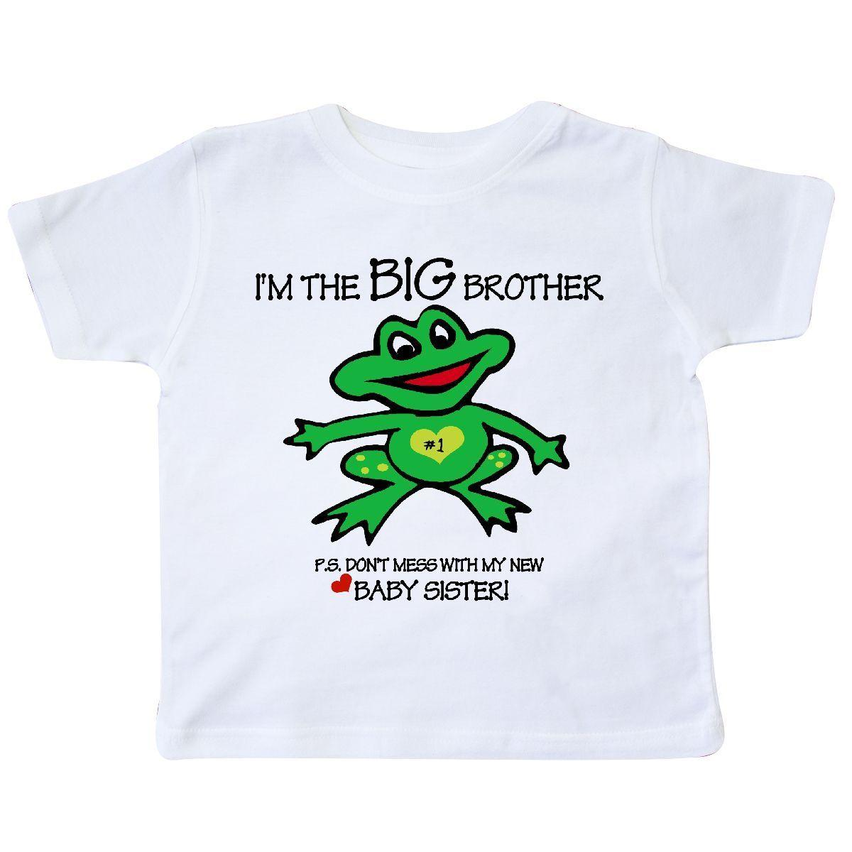 fce295cb3869f Inktastic Frog Big Brother Of Baby Sister Toddler T-Shirt Happy Green  Little One Funny free shipping Unisex Casual tee gift