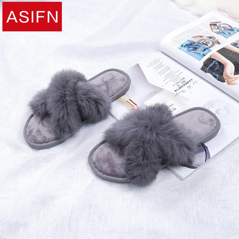 28a8732c43d ASIFN Winter Cotton Slippers Women Female Cross Non Slip Chaussures Femme  Floor Soft Plush Indoor Furry Slipper Woman Shoes Suede Boots Black Boots  For ...