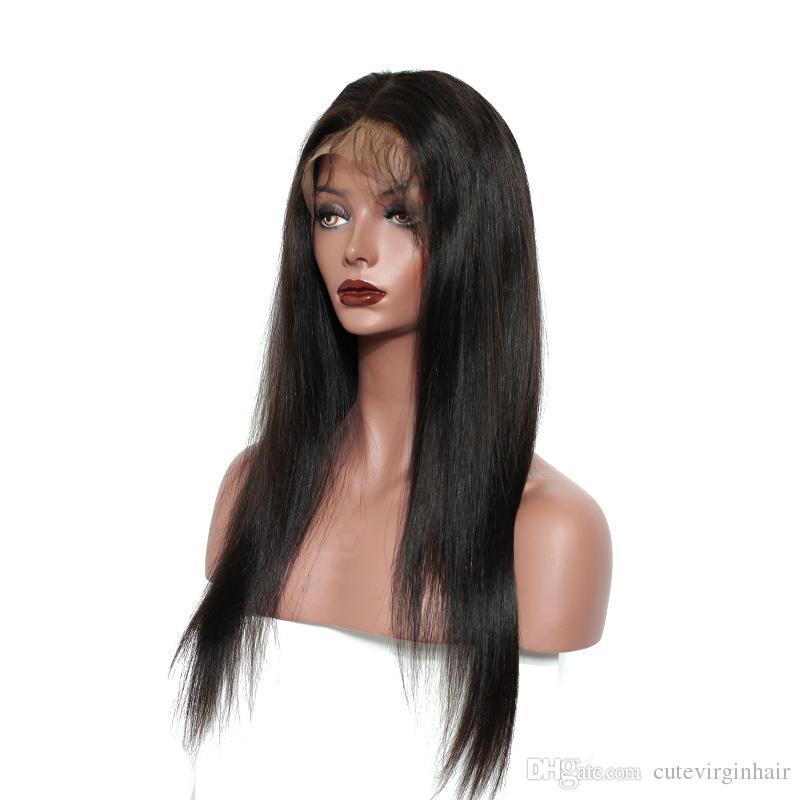 شعر مستعار الجبهة الشعر مستقيم الشعر الأمامي مع شعر الطفل قبل التقطه البرازيلي 100٪ شعر الإنسان الباروكات للنساء السود اللون الأسود