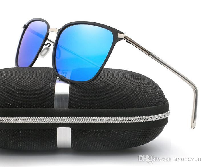 Square Polarized lens pilot Fashion Sunglasses metal frame Men Brand designer Vintage Sport Sun glasses With case and box A349