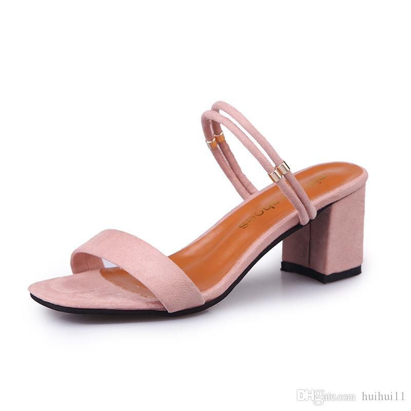 2018 Summer New Style Square Thick Heel Sandals + One Pair of Shoes Two Fashion Wild Suede Sandals Black, Khaki, Pink 35-39