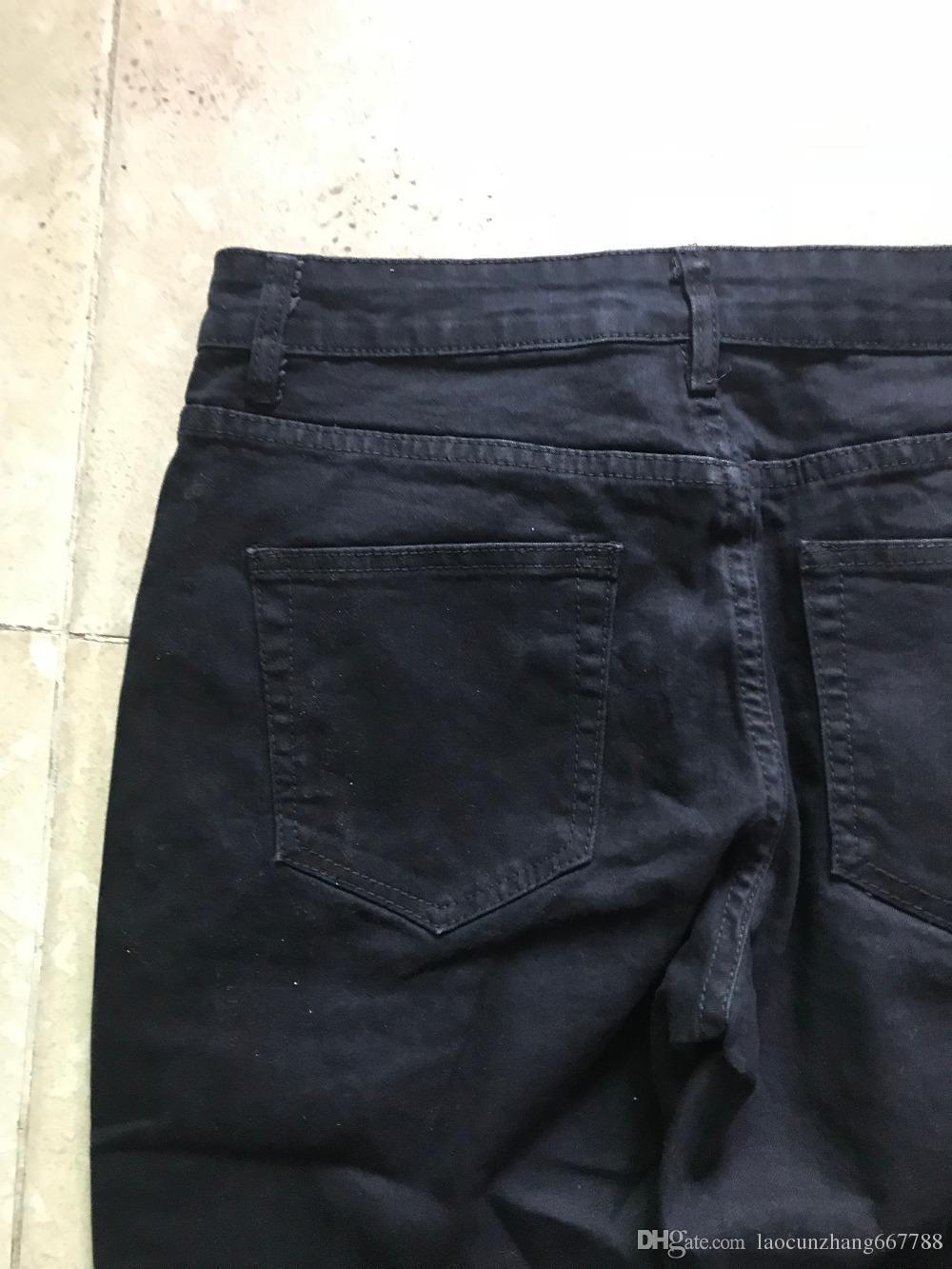 2018 Best version RETRO DENIM - jean noir et bleu pour hommes Jean à rayures blanches à rayures blanches