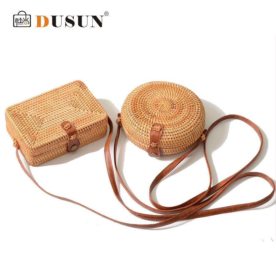 DUSUN Summer Women Handmade Round Bamboo Handbags Rattan Bags Circle Box Bali Bohemian Beach Totes handbags Knitting Straw Bag