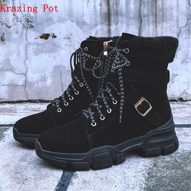 69b66145947c3 Krazing Pot cow leather rabbit hair lace up Western cowboy boots wedge  leisure round toe metal buckle young girl ankle boots Lb9