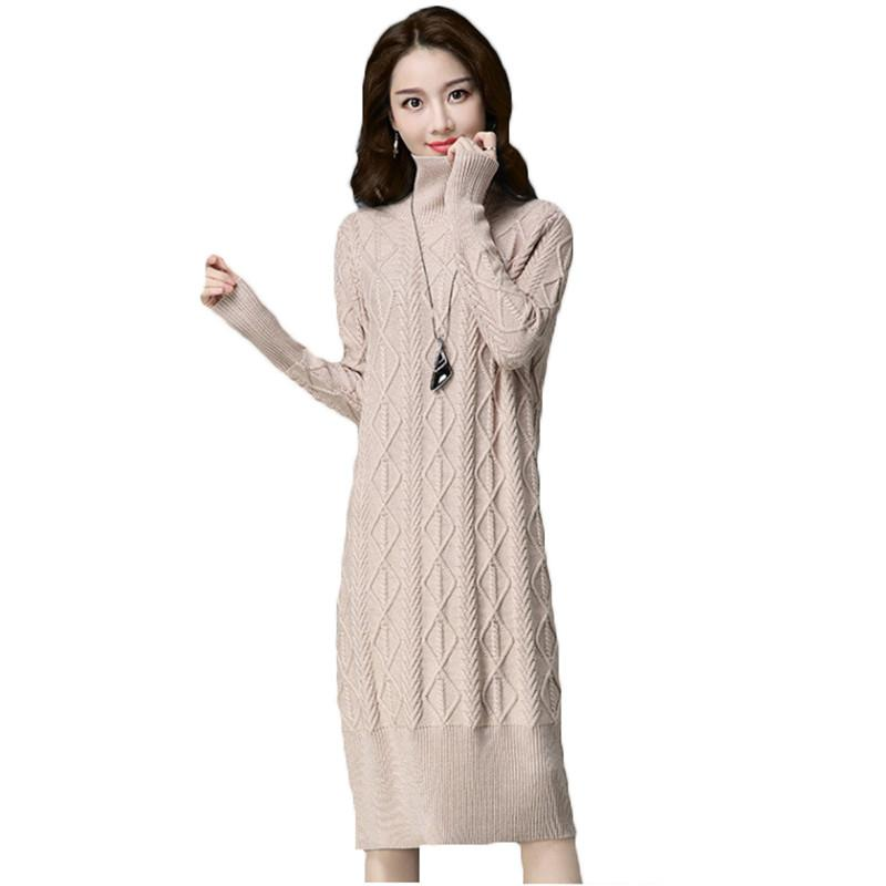 341c010dde7 2019 2018 Women Long Turtleneck Pullovers Sweater Warm Thick Knitted  Sweater Dresses Winter Female Long Sleeve Twist Knitwear A1196 From  Bigseaa